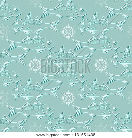 Seamless texture with fish and  helm  on light aquamarine background. Vector  pattern.