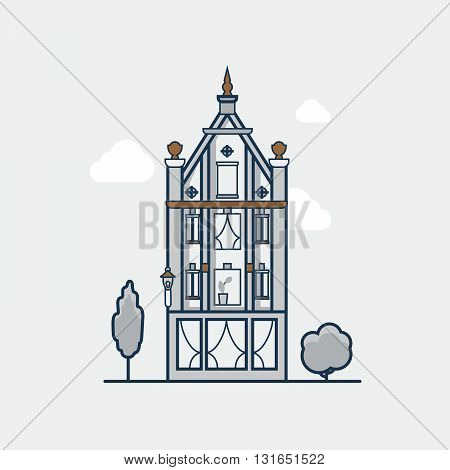 Gothic Vintage architecture building hotel. Linear stroke outline flat style vector icons. Color line art icon collection.
