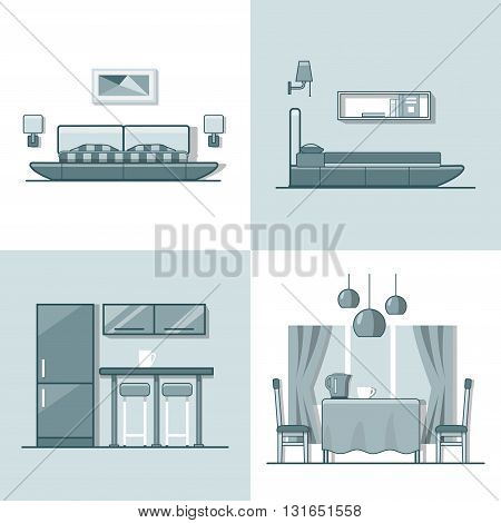 Bedroom kitchen living dining room interior indoor set. Linear monocolor stroke outline flat style vector icons. Color line art icon collection.