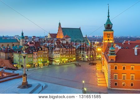 Warsaw city, Royal Castle at night, Poland