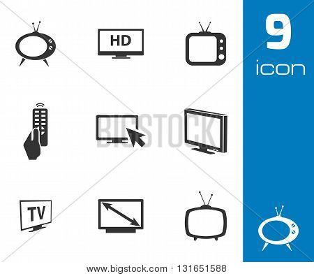 Vector black TV icons set on white background