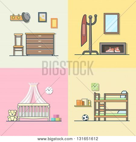 Hall hallway children kid room interior indoor set. Linear multicolor stroke outline flat style vector icons. Color icon collection.