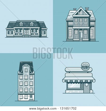 City town house cafe restaurant architecture building set. Linear stroke outline flat style vector icons. Monochrome icon collection.