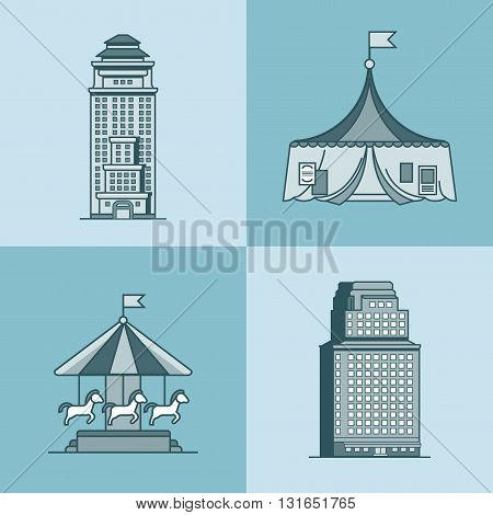 City town skyscraper house attractions park circus carousel architecture building set. Linear stroke outline flat style vector icons. Mono color icon collection.