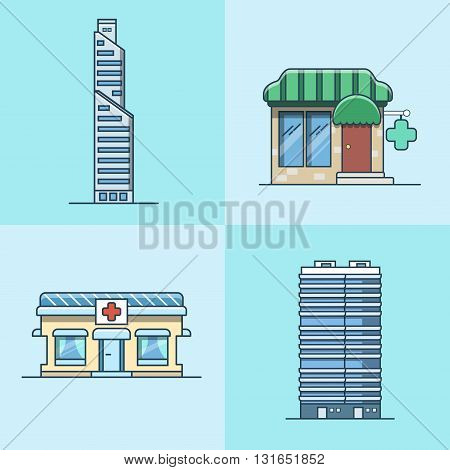 Skyscraper office business center pharmacy hospital architecture building set. Linear stroke outline flat style vector icons. Color icon collection.