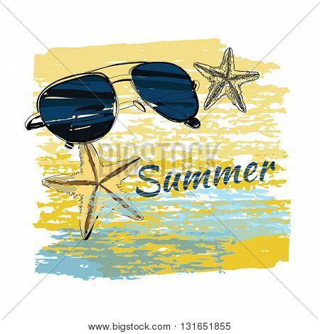 Vector illustration of background summer with lettering, shales on sand, sunglasses, starfish