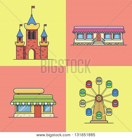 City town architecture castle ferris wheel bakery fast food restaurant cafe building set. Linear stroke outline flat style vector icons. Multicolor line art icon collection.