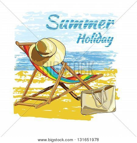 Vector illustration of background summer with lettering, recliner on the sand with hat. Summer holiday. Hand drawn sketch elements for beach.
