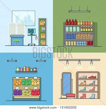 Green grocery vegetable shoes shop store hospital interior indoor set. Linear stroke outline flat style vector icons. Color icon collection.