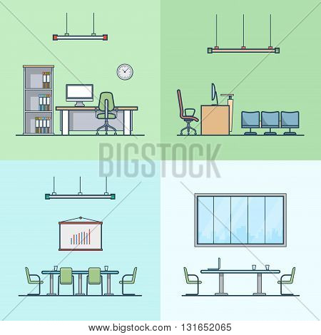 Office meeting conference room cabinet table chair interior indoor set. Linear stroke outline flat style vector icons. Color icon collection.