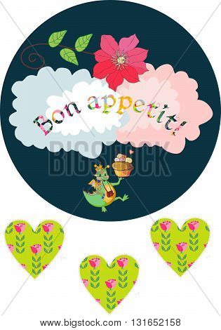 Happy dragon with cupcake wish bon appetit. Cute card with dragons flowers and hearts. Vector illustration.