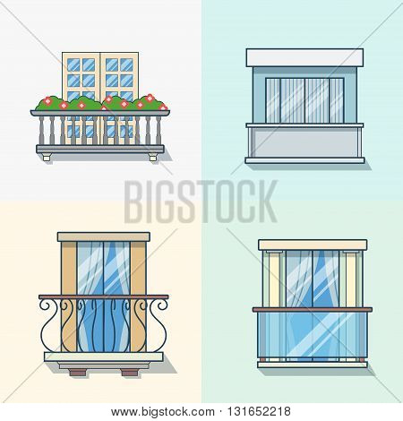 Balcony linear outline architecture building element set. Linear stroke outline flat style vector icons. Color icon collection.