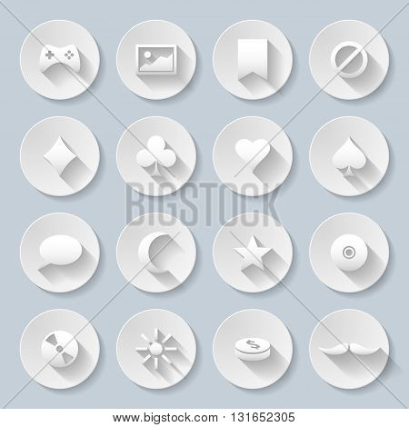 Set of game and Web site interface icons in paper style
