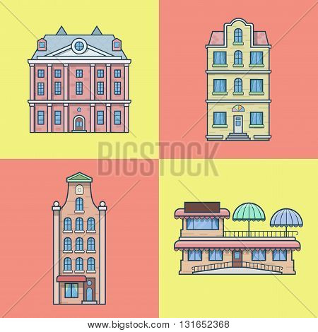City town houses hotel cafe restaurant terrace architecture building set. Linear stroke outline flat style vector icons. Color icon collection.