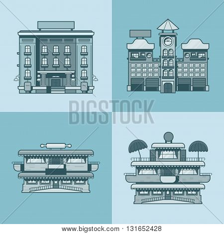 City town houses hotel cafe restaurant terrace bakery architecture building set. Linear stroke outline flat style vector icons. Monochrome icon collection.