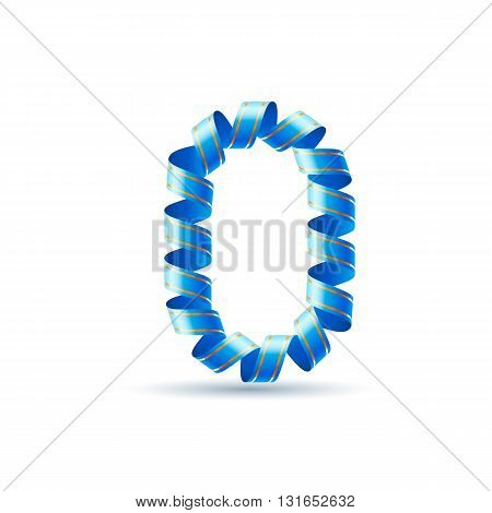 Number zero made of blue curled shiny ribbon