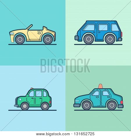 Car automobile convertible cabriolet taxi cab mini bus sedan hatchback cool transport set. Linear stroke outline flat style vector icons. Color outlined icon collection.