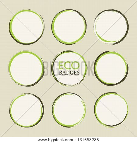 Abstract round paint stains. Set of vector paint stains isolated on clear background. Circle badges design elements in green and brown colors. EPS8 vector illustration.