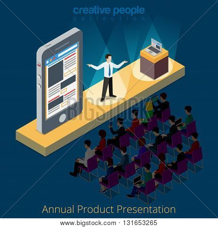 Electronics product smartphone presentation promo scene concept. Flat 3d isometry isometric style web site app icon set concept vector illustration. Creative people collection.