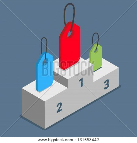 Popular tags labels topics themes pedestal podium concept. Flat 3d isometry isometric style web site app icon set concept vector illustration. Creative people collection.