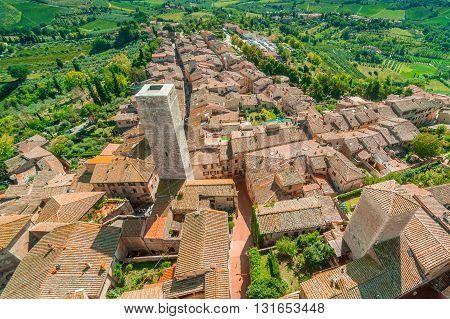 Bird's-eye view, San Gimignano town, Tuscany, Italy