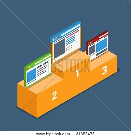 Web site best top review rating podium pedestal concept. Flat 3d isometry isometric style web site app icon set concept vector illustration. Creative people collection.