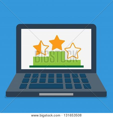 Online review rating top best list abstract concept. Star on podium pedestal on laptop screen. Flat style conceptual vector illustration.