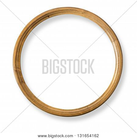 Round wooden frame isolated with clipping path