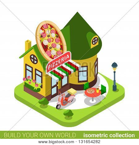 Pizzeria cafe restaurant shop pizza shape building realty real estate concept. Flat 3d isometry isometric style web site app icon vector illustration. Build your own world architecture collection.