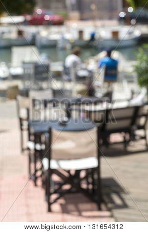 the blur outdoor summer restaurant for background