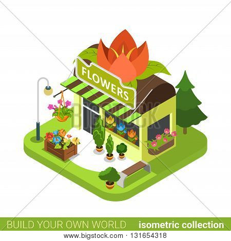 Florist shop flower shape building realty real estate concept. Flat 3d isometry isometric style web site app icon vector illustration. Build your own world architecture collection.
