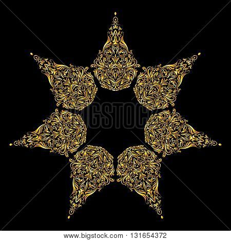 Gold element similar a star on a black background