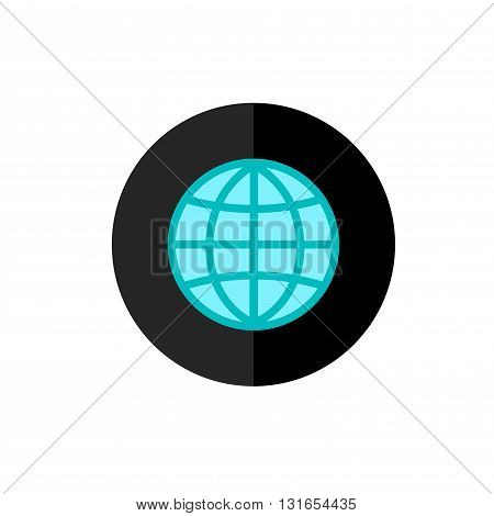 Globe Icon in Circle Frame for Web App Internet Smartphone Interface. Planet earth Symbol.Vector Button