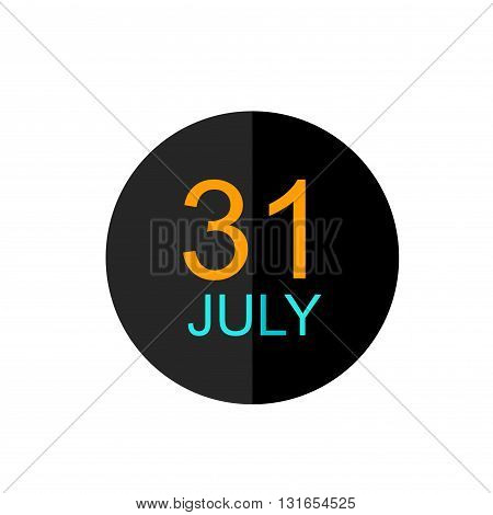 Flat Calendar Icon in Circle Frame for Web App Internet Smartphone Interface. Date Vector Button
