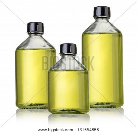 Three glass bottles of medicines on white background