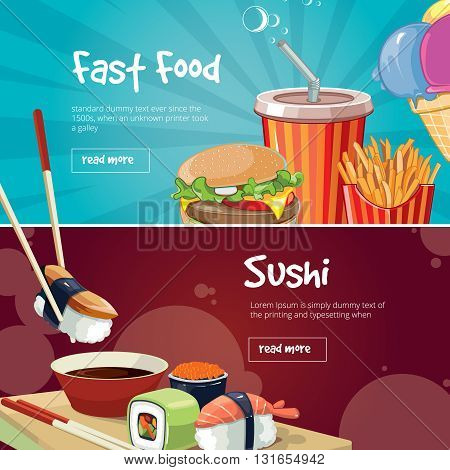 vector illustration of two web banners with fast food pictures. Sushi, rolls, burger, cola, French fries and ice cream