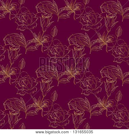 Seamless pattern with gently golden roses on the dark crimson background. (Can be repeated and scaled in any size.)