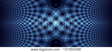 Blue glowing elliptic fractal computer generated abstract background