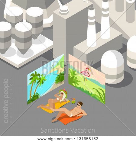 Vacation during sanctions concept. Young couple laying in polluted city bordered with tropical beach resort posters. Flat 3d isometric style web site vector illustration. Creative people collection.