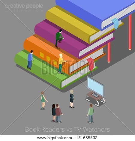 Book readers and TV watchers auditory concept. Flat 3d isometry isometric style web site app icon set concept vector illustration. Creative people collection.