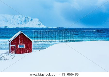 Rorbu House in winter, beach, Lofoten, Norway