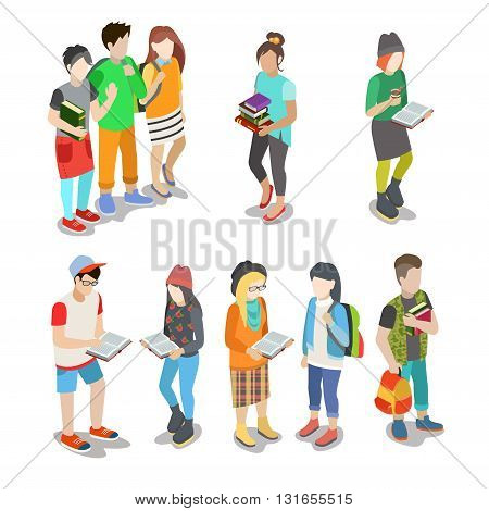 Active urban young student casual street people flat 3d isometric web infographic friendship concept vector icon set. Creative people collection.