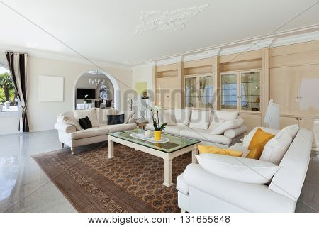 living room in luxury house, comfortable white divans