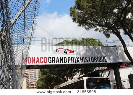Monte-Carlo Monaco - April 28 2016: Red and White Monaco Grand Prix Historique Signboard in Monte-Carlo Monaco