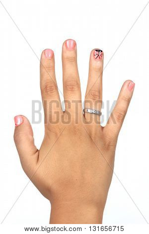 Closeup photo of a beautiful female hands with pink nails isolated on white background