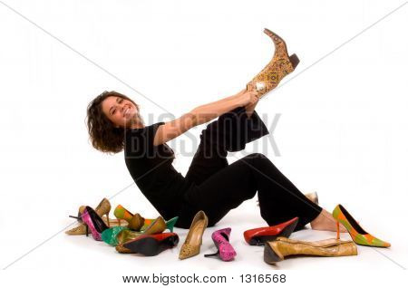 Pretty Young, Attractive Lady Trying On Shoes