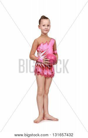 Little Girl Gymnast With Ball