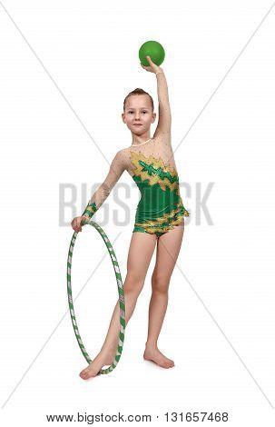 Girl With Hula Hoop And Ball