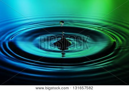 Water drop on green blue background macro