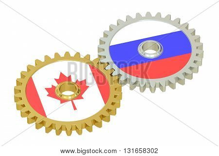 Canada and Russia flags on a gears 3D rendering isolated on white background